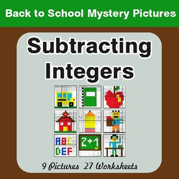 Back to School: Subtracting Integers - Color-By-Number Mystery Pictures