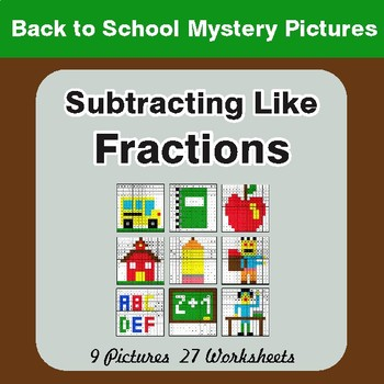Back to School: Subtracting Like Fractions - Color-By-Number Math Mystery Pictures