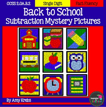 Back to School Subtraction Mystery Pictures