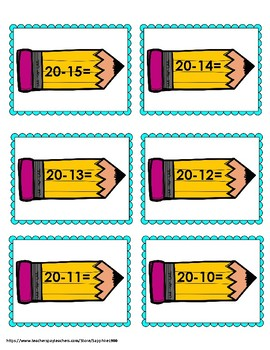 Back to School Subtraction Within 20 Bang Game