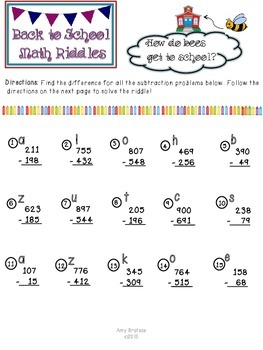 Back to School Subtraction with Regrouping Riddles