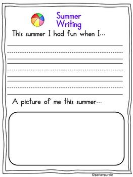 Back to School Summer Fun Pack ~ Pre-K, Kindergarten, First Grade