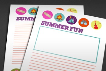 Back to School: Summer Fun Writing Paper