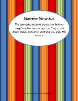 Back to School Summer Snapshot