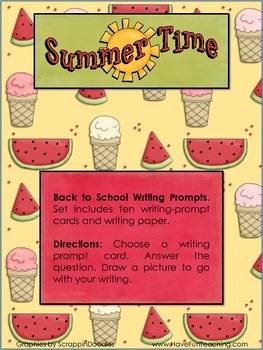 Back to School - Summer Writing Activity