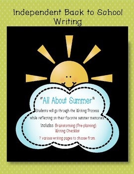 Back to School Summer Writing Activity