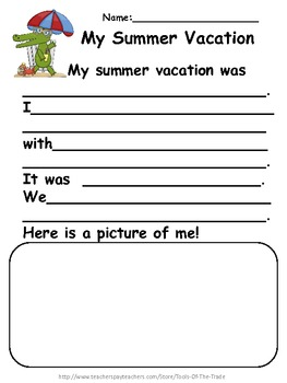 Back to School Summer Writing ~ Paragraph Prompts!
