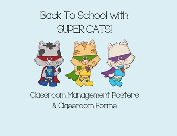 Back to School - Super Hero Cats Theme - Classroom Managem