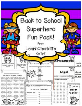 Superhero Theme Fun Pack! {Back to School}