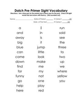 Back to School Super Hero Themed Pre Primer Dolch Words