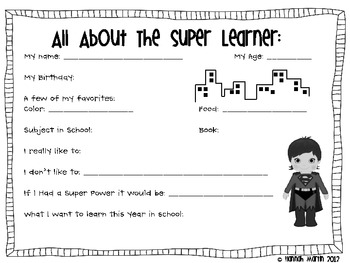 Back to School Super Learners! {FREEBIE!}