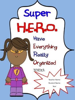 Back to School Superhero Binder Covers with Editable Names