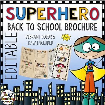 Back to School Superhero Brochure EDITABLE
