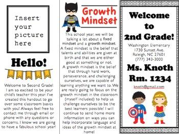 Back to School Superhero Brochure (editable)