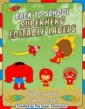 Back to School - Superhero Editable Labels
