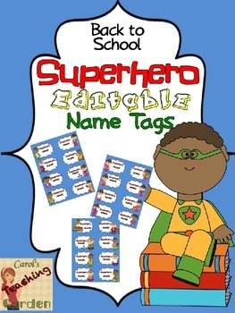 Back to School Superhero Editable Name Tags