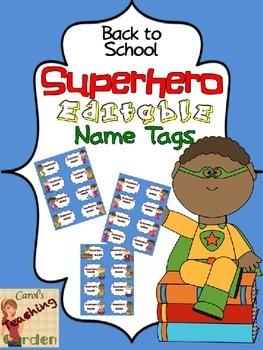 Back to School Superhero Editable Name Tags