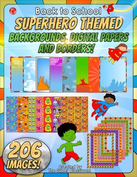 Back to School - Superhero themed backgrounds, digital papers and borders!