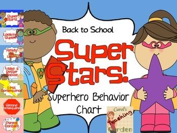 Back to School Superheroes Super Star Behavior Chart