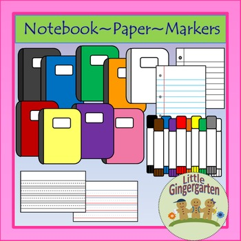 Back to School Supply Clip Art 76 images Blackline Masters Included