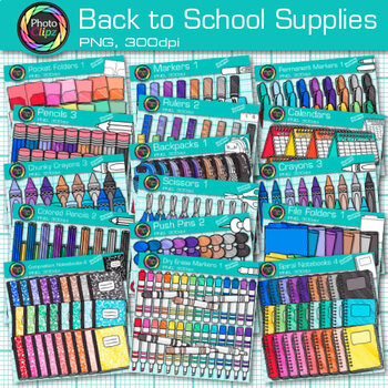 Back to School Supplies Clip Art Bundle {Crayons, Markers, Pencils, & Notebooks}