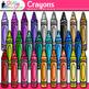 Back to School Supplies Clip Art Bundle   Notebook, Crayon, Ruler, & Folder 2