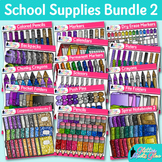 Back to School Supplies Clip Art Bundle {Notebook, Crayon,