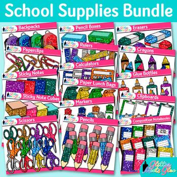 Back to School Supplies Clip Art Bundle | Notebook, Crayon, Ruler, & Pencils 3
