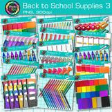 Back to School Supplies Clip Art Bundle {Crayons, Pencils,