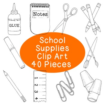 Back to School Supplies Clip Art Bundle PNG JPG Blackline Commercial or Personal