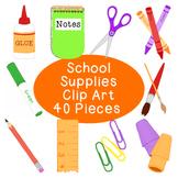 Back to School Supplies Clip Art Bundle PNG JPG Blackline