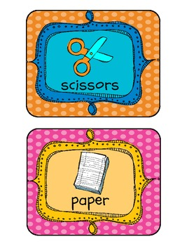 Back to School Supply Labels (with polka dots!)