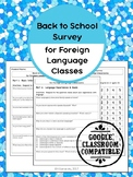 Back to School Survey for Foreign Language Classrooms