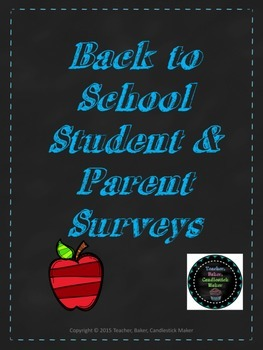 Back to School Surveys for Students & Parents