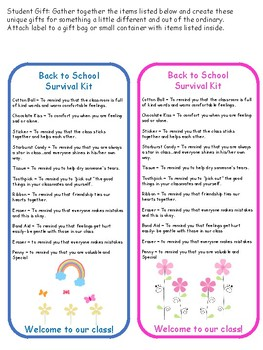 Back to School Survival Kit Gift Tag