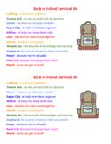 Back to School Survival Kit List
