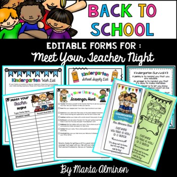 """Back to School Forms and Survival Kit for """"Meet Your Teacher Night"""""""
