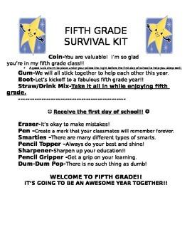 Back to School Survival Letter