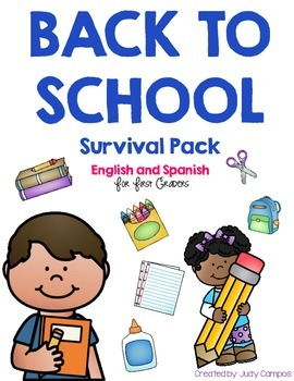Back to School Survival Pack for First Graders *English and Spanish Versions*