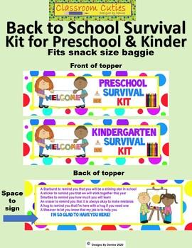 Back to School Survivor Toppers for Preschool and Kindergarten
