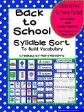 Back to School Syllable Sort to Build Vocabulary