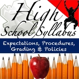 Back to School Syllabus: May be Used for Any Middle or High School Grade Level
