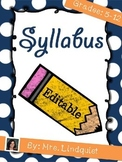 Back-to-School Syllabus for Middle or High School Teachers {Editable}