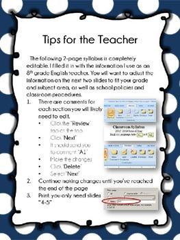 Back-to-School Syllabus for Middle or High School Teachers {Editable}