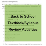 Back to School Syllabus or Textbook Review