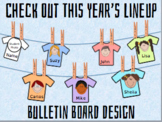 "Editable Back to School T-Shirt Bulletin ""Check Out This Year's Lineup"""