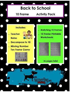 Back to School TEN FRAME Activity Pack