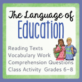 Back to School - THE LANGUAGE OF EDUCATION Informational T