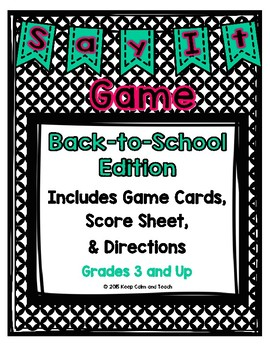 Back to School Taboo Game- Great for literacy centers or whole class