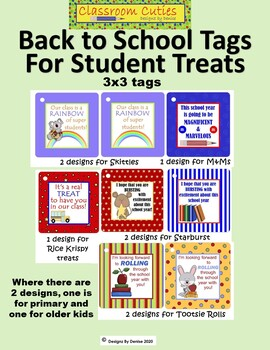 Back to School Tags for Student Candy Treats